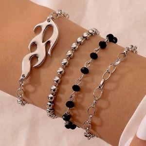 Layered Silver Flame Black Beaded Bracelet Set